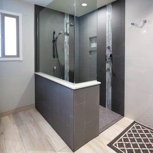 Inspiration for a large modern master gray tile and porcelain tile porcelain tile and beige floor bathroom remodel in Phoenix with shaker cabinets, gray cabinets, an undermount sink, quartz countertops and gray walls