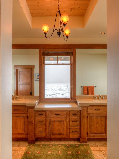 66 fotos landhausstil badezimmer mit gefliestem waschtisch