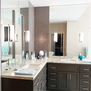 75 most popular beach style bathroom with brown cabinets