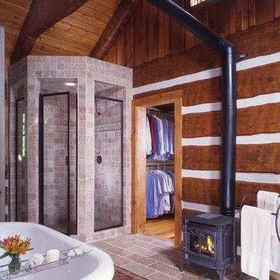 Example of a huge mountain style master beige tile and ceramic tile ceramic tile bathroom design in Charlotte