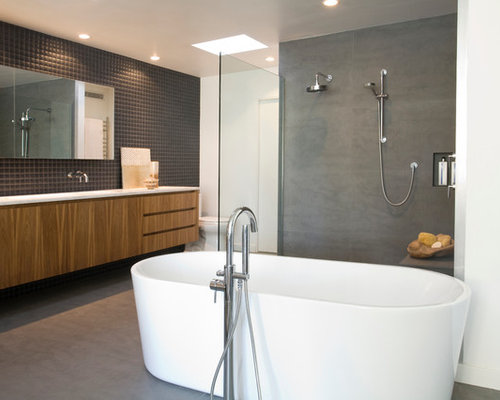 Inspiration For A Modern Black Tile Freestanding Bathtub Remodel In San  Diego With Flat Panel