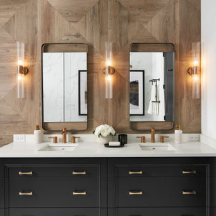 Large transitional master brown tile and wood-look tile white floor and double-sink bathroom photo in Toronto with black cabinets, quartz countertops, white countertops, recessed-panel cabinets, an undermount sink and a freestanding vanity