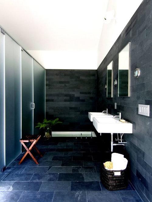 Stanza da Bagno con piastrelle in ardesia e pareti nere - Foto, Idee, Arredamento