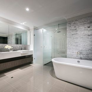 Contemporary master bathroom in Perth with open cabinets, dark wood cabinets, a freestanding tub, an alcove shower, a drop-in sink, grey floor, a hinged shower door and white benchtops.