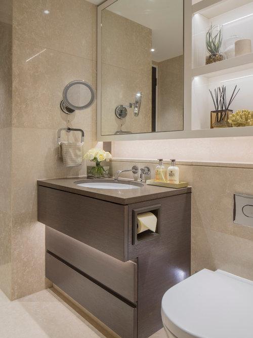 Badezimmer mit braunen Schrankfronten - Ideen & Beispiele für die ...
