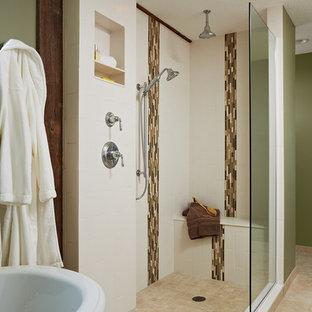 Inspiration for a country beige tile beige floor bathroom remodel in Minneapolis