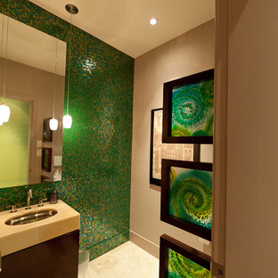 Contemporary bathroom in Edmonton with mosaic tiles, green tiles and green walls.