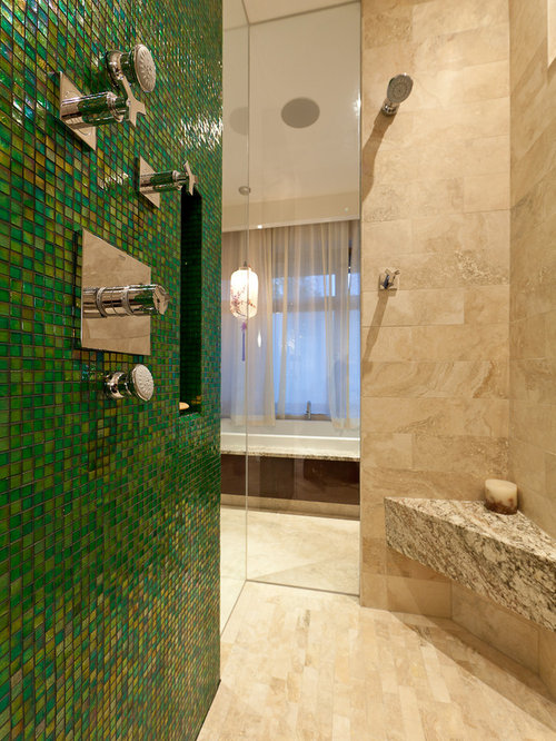 Inspiration for a contemporary mosaic tile bathroom remodel in Edmonton
