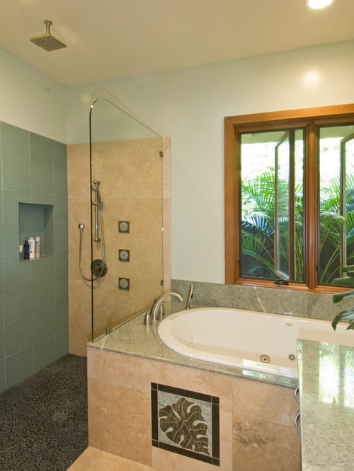 Tropical bathroom design ideas remodels photos for Tropical bathroom ideas