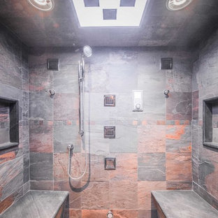 Inspiration for a cottage gray tile and slate tile alcove shower remodel in New York