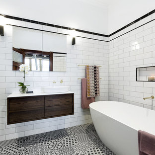 Bathroom Contemporary Black And White Tile Subway Idea In