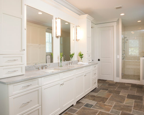 Inspiration For A Large Timeless Master Porcelain Floor And Brown Alcove Shower Remodel In Charleston