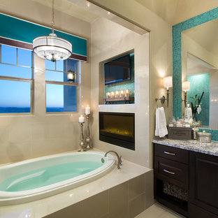 Design ideas for a contemporary bathroom in Austin with granite worktops.