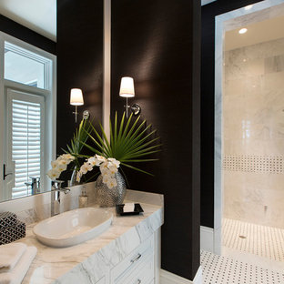Inspiration for a transitional bathroom remodel in Miami with a vessel sink, black walls and white cabinets