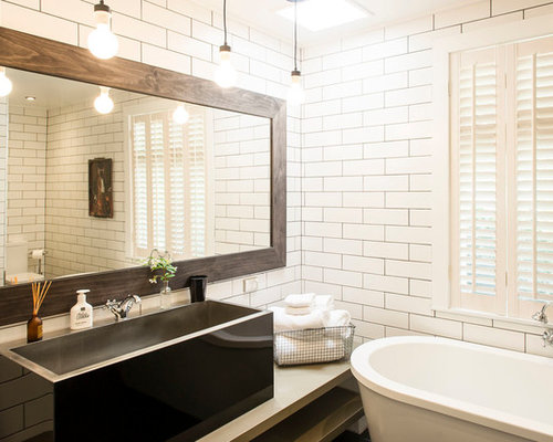 Huge Transitional Subway Tile And White Tile Ceramic Floor Bathroom Photo  In Other With White Cabinets
