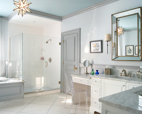 Gray and white bathroom houzz for White and gray bathroom ideas
