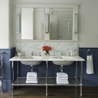 Classic Bathroom In London With Open Cabinets, White Tiles, Metro Tiles,  Multi