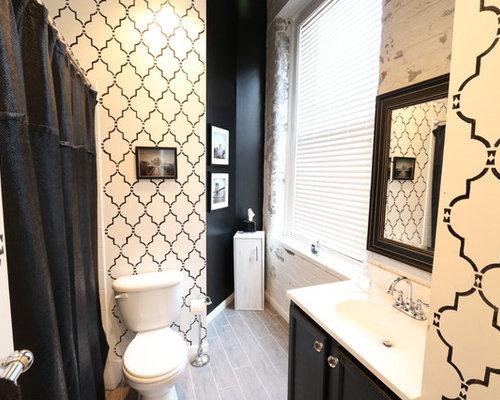 salle de bain romantique avec un lavabo int gr photos et id es d co de salles de bain. Black Bedroom Furniture Sets. Home Design Ideas