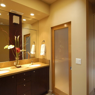 Inspiration for a contemporary bathroom remodel in San Francisco with an undermount sink, flat-panel cabinets and dark wood cabinets
