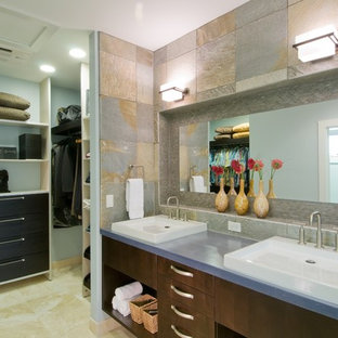 Inspiration for a contemporary bathroom in Hawaii with a vessel sink.
