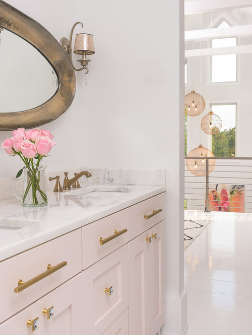 white and gold bathroom ideas. Inspiration for a mid sized farmhouse master white tile and ceramic  painted wood floor Pink And Gold Bathroom Ideas Houzz