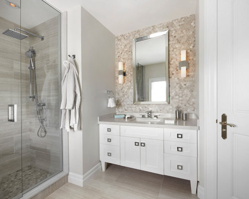 SaveEmail. Tile Behind Vanity Design Ideas  amp  Remodel Pictures   Houzz