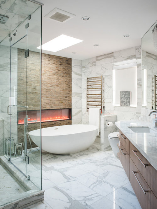Bathroom   Large Contemporary Master White Tile And Marble Tile White Floor  And Marble Floor Bathroom