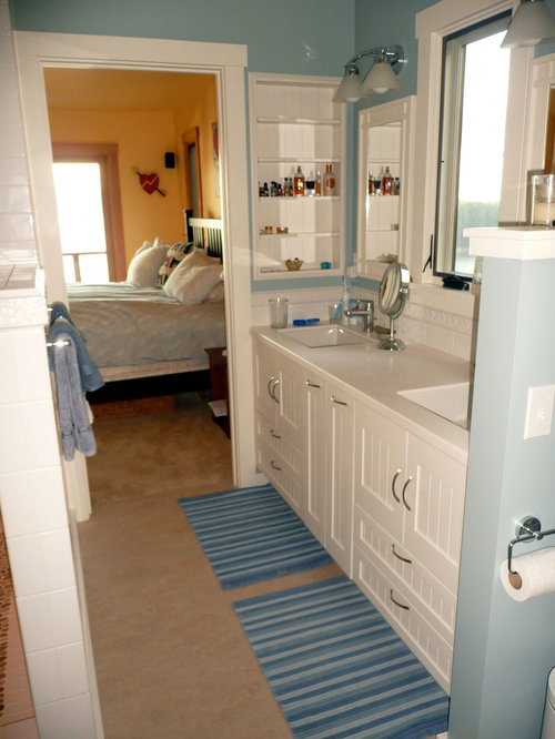 Beading For Bathroom Floor : Best bath with beaded inset cabinets and linoleum floors