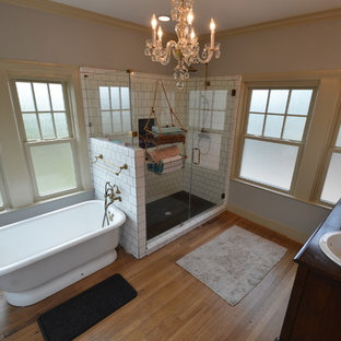 Bathroom - eclectic master black and white tile and ceramic tile light wood floor bathroom idea in Houston with a drop-in sink