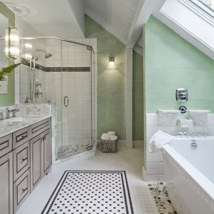 Large elegant master black and white tile and porcelain tile porcelain floor and multicolored floor bathroom photo in Manchester with marble countertops, beaded inset cabinets, gray cabinets, green walls, an undermount sink and a hinged shower door