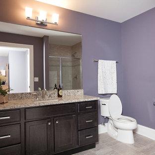 Amerikansk inredning av ett badrum med dusch, med ett undermonterad handfat, luckor med infälld panel, skåp i mörkt trä, granitbänkskiva, ett badkar i en alkov, en dusch i en alkov, en toalettstol med separat cisternkåpa, grå kakel, porslinskakel, lila väggar och klinkergolv i porslin