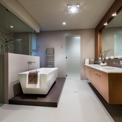Bathroom - contemporary master multicolored tile and mosaic tile bathroom idea in Perth with flat-panel cabinets, medium tone wood cabinets and gray walls