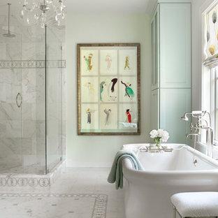 Freestanding bathtub - traditional ceramic tile freestanding bathtub idea in St Louis