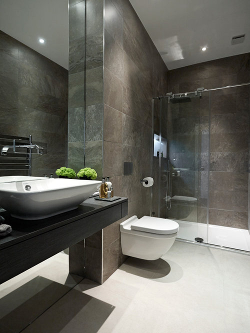Dark Tiled Bathroom Home Design Ideas, Pictures, Remodel ...