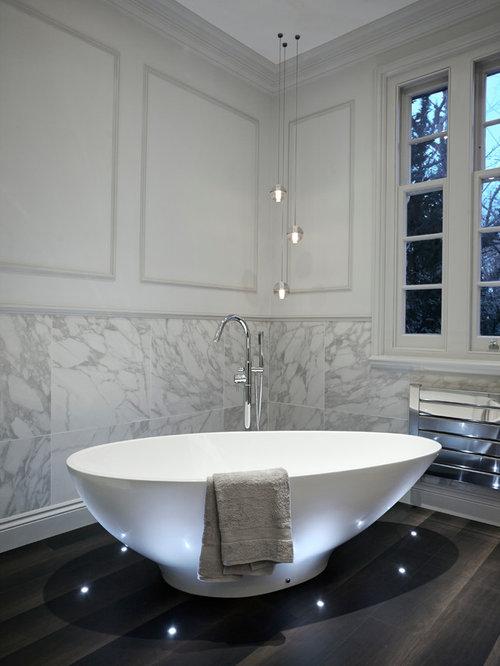 Contemporary Freestanding Bathtub Idea In London With Gray Walls