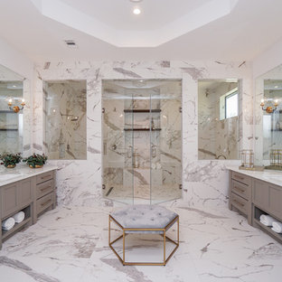 Large transitional master white tile and porcelain tile bathroom photo in Houston with shaker cabinets, gray cabinets, glass countertops, a hinged shower door, white countertops and an undermount sink