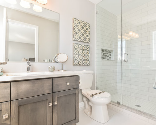 Inspiration For A Mid Sized Transitional White Tile And Ceramic Tile  Ceramic Floor Alcove Shower