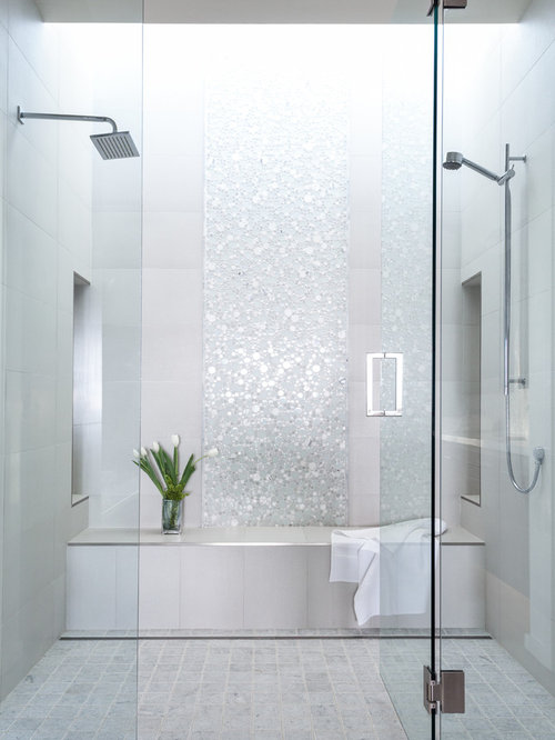 Double Shower   Large Contemporary Master White Tile And Mosaic Tile  Porcelain Floor And White Floor
