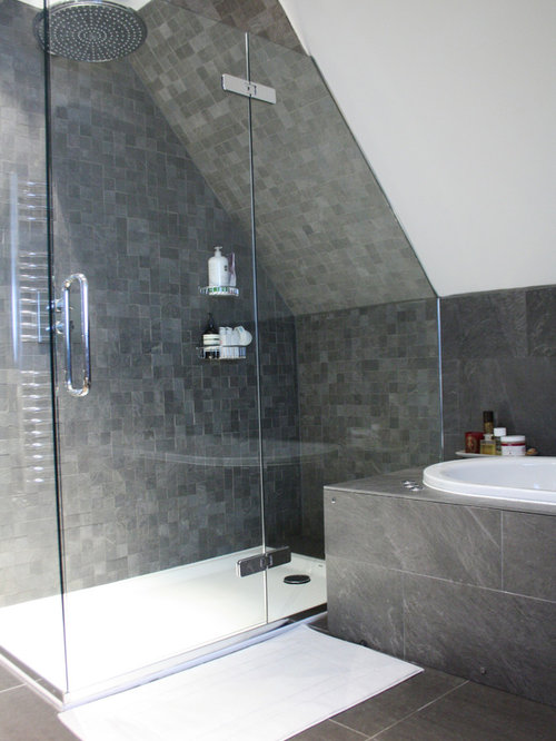 Slanted ceiling shower ideas pictures remodel and decor for Small bathroom with sloped ceiling