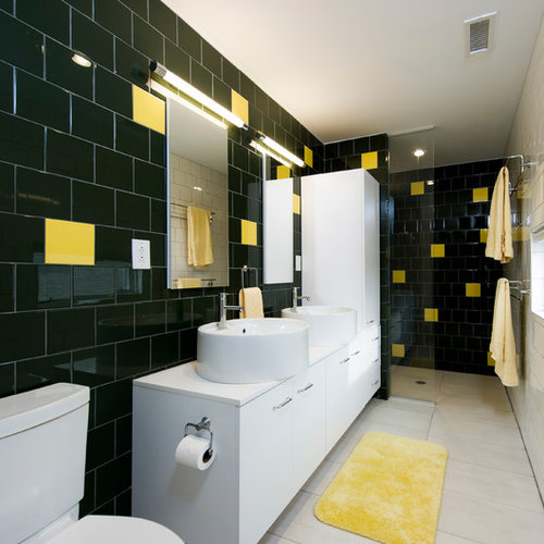 Inspiration For A Contemporary Black Tile Bathroom Remodel In DC Metro With  A Vessel Sink,