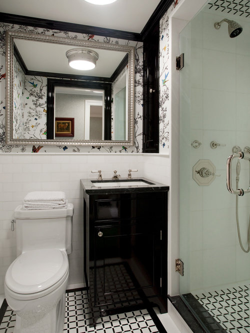 Alcove Shower   Small Traditional 3/4 White Tile And Mosaic Tile  Multicolored Floor Alcove