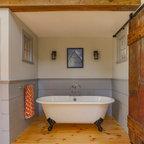 Farmhouse Build Shiplap Shower Farmhouse Bathroom