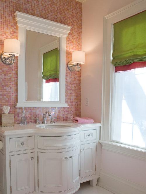 Salle de bain avec un carrelage rose photos et id es d co de salles de bain - Houzz salle de bain ...