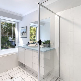 75 Beautiful Bathroom With Laminate Countertops And Blue ...