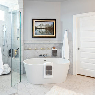 Example of a transitional master gray tile gray floor bathroom design in Other with gray walls and a hinged shower door
