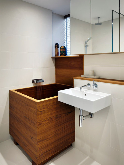 photo of a world inspired bathroom in london with a wall mounted sink - Japanese Bathroom