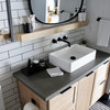 Bland Bath Reimagined With Bold Industrial Finishes and a Shower