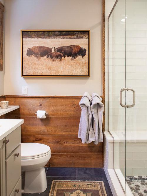 inspiration for a rustic 34 brown tile blue floor alcove shower remodel in denver - Rustic Bathroom Ideas