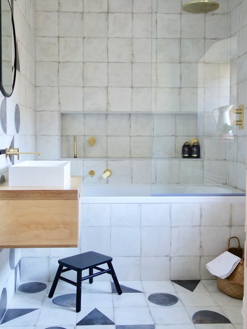 This Is An Example Of A Medium Sized Scandi Family Bathroom In Other With Light Wood