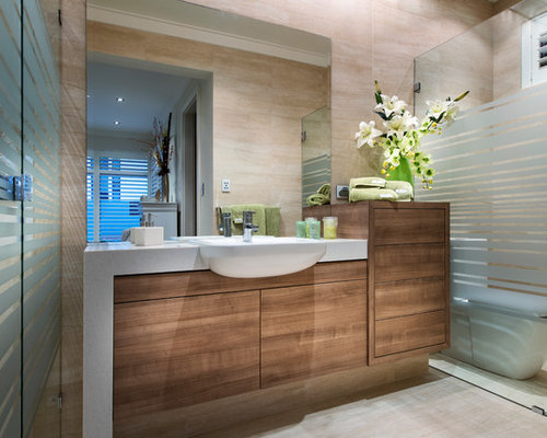 Inspiration For A Contemporary Beige Tile Bathroom Remodel In Perth With A  Drop In Sink